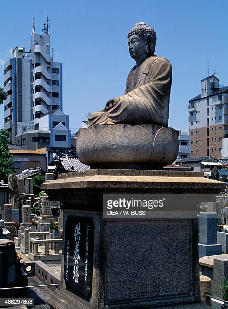 Statue of Buddha in the cemetery of Shitennojiji Temple, Kansai, Osaka, Japan, 6th century.