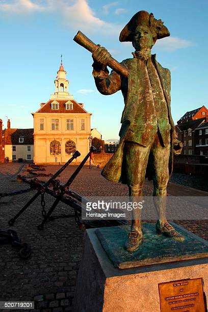 Statue of Captain Vancouver at dusk on the Purfleet Quay King's Lynn Norfolk