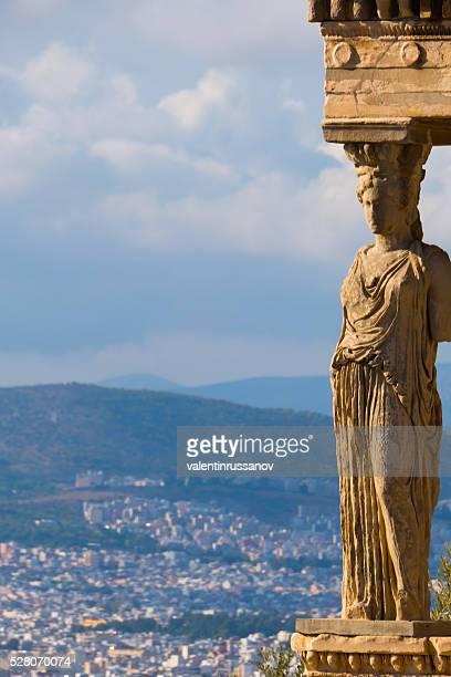 Statue of Caryatids, Parthenon, Athens, Greece-copy space