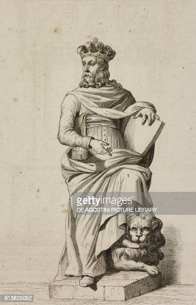 Statue of Casimir the Grea King of Poland engraving by Lemaitre Vernier and Masson from Pologne by Charles Foster L'Univers pittoresque Europe...