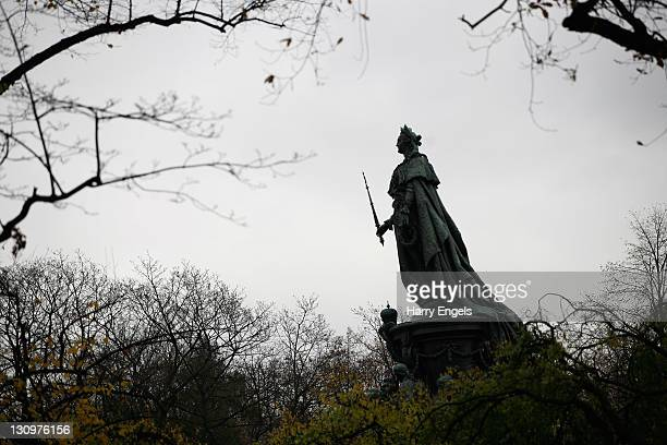 A statue of Catherine the Great is seen through the trees on October 30 2011 in Saint Petersburg Russia St Petersburg Russia's second largest city is...
