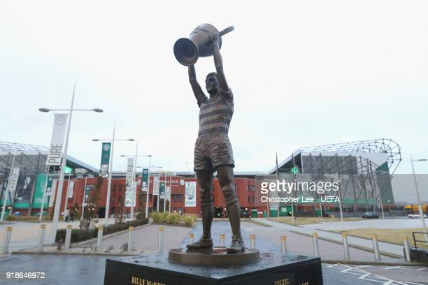 A statue of Celtic Legend Billy McNeill holding aloft the European Cup during UEFA Europa League Round of 32 match between Celtic and Zenit St...