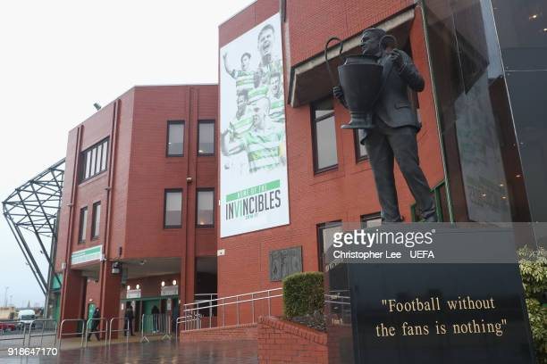 A statue of Celtic Legend John 'Jock' Stein holding aloft the European Cup during UEFA Europa League Round of 32 match between Celtic and Zenit St...