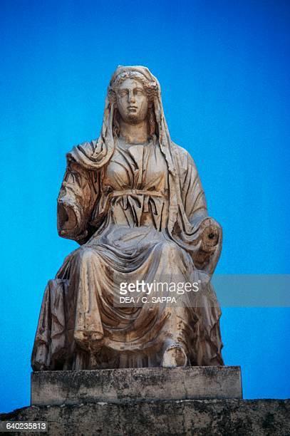 Statue of Ceres in the Roman theatre of Merida Extremadura Spain Roman civilisation 1st century