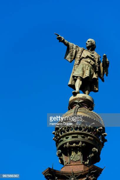 statue of christopher columbus, barcelona, catalonia, spain - christopher columbus explorer stock photos and pictures