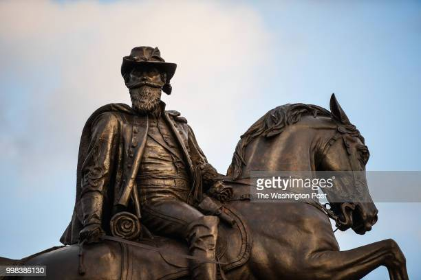 A statue of Confederate General JEB Stuart is photographed at the center of Stuart Circle along Monument Avenue on Friday August 25 in Richmond VA