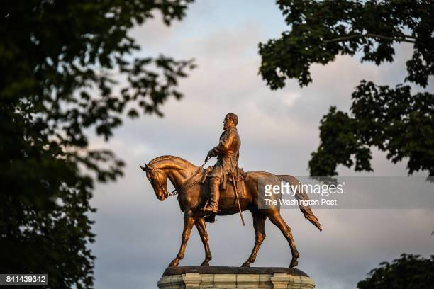 A statue of Confederate General Robert E Lee is photographed at the center of Lee Circle along Monument Avenue on Friday August 25 in Richmond VA