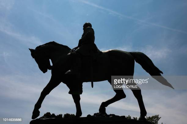 A statue of Confederate General Robert E Lee stands at Emancipation Park August 10 2018 near downtown Charlottesville Virginia site of the Unite the...