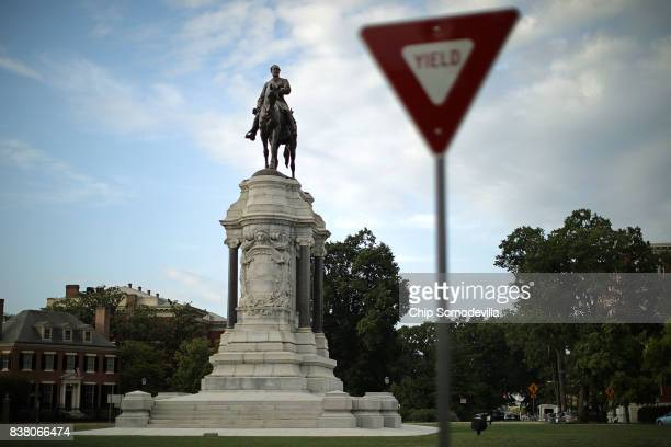 A statue of Confederate General Robert E Lee unveild in 1890 stands at the center of Lee Circle along Monument Avenue August 23 2017 in Richmond...