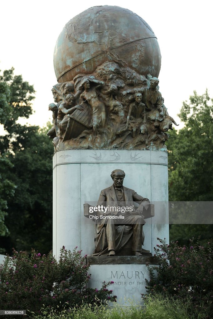 A statue of Confederate naval commander Matthew Fontaine Maury, unveild in 1929, stands at the intersection of Monument Avenue and North Belmont Avenue August 23, 2017 in Richmond, Virginia. Richmond Mayor Levar Stoney's Monument Avenue Commission -- composed of academics, historians and community leaders --will include an examination of the removal or relocation of some or all of the city's Confederate statues, which depict Civil War Gens. Robert E. Lee, J.E.B. Stuart and Stonewall Jackson; President of the Confederacy Jefferson Davis; and Confederate naval commander Matthew Fontaine Maury.