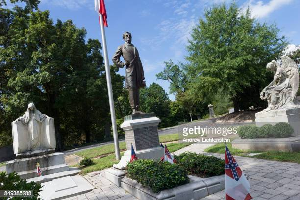 A statue of Confederate President Jefferson Davis marks his grave site on September 15 2017 in Richmond Virginia's Hollywood Cemetery