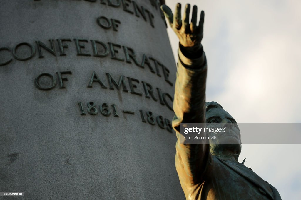 A statue of Confederate President Jefferson Davis, unveild in 1907, stands in the middle of Monument Avenue August 23, 2017 in Richmond, Virginia. Richmond Mayor Levar Stoney's Monument Avenue Commission -- composed of academics, historians and community leaders --will include an examination of the removal or relocation of some or all of the city's Confederate statues, which depict Civil War Gens. Robert E. Lee, J.E.B. Stuart and Stonewall Jackson; President of the Confederacy Jefferson Davis; and Confederate naval commander Matthew Fontaine Maury.