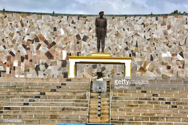 Statue of Corporal Gamini Kularatne of 6 Sri Lanka Sinha Regiment at the Hasalaka War Hero War Memorial located at the Elephant Pass Northern...