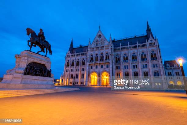 statue of count gyula andrássy inaugurated in front of hungarian parliament building - prime minister stock pictures, royalty-free photos & images