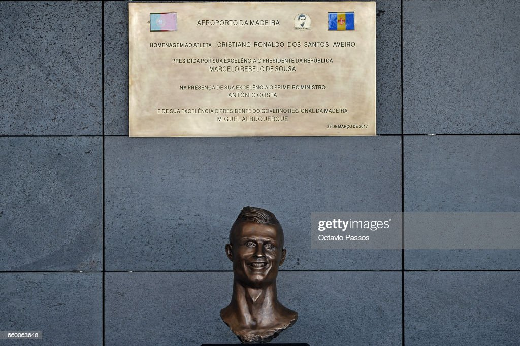 Statue of Cristiano Ronaldo at the ceremony at Madeira Airport to rename it Cristiano Ronaldo Airport on March 29, 2017 in Santa Cruz, Madeira, Portugal.