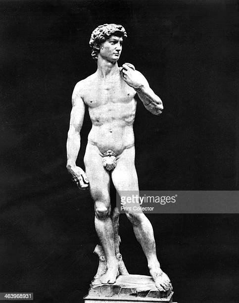 Statue of David Florence Italy 1893 Michelangelo's famous statue of David completed in 1504 Illustration from Portfolio of Photographs of Famous...