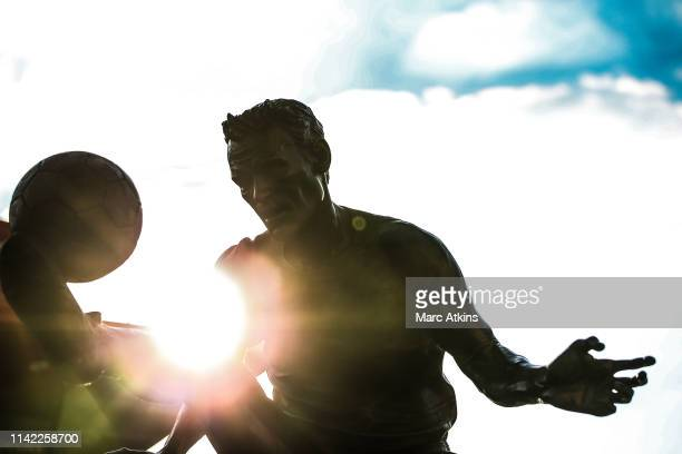 A statue of Dennis Bergkamp is seen prior to the UEFA Europa League Quarter Final First Leg match between Arsenal and SSC Napoli at Emirates Stadium...