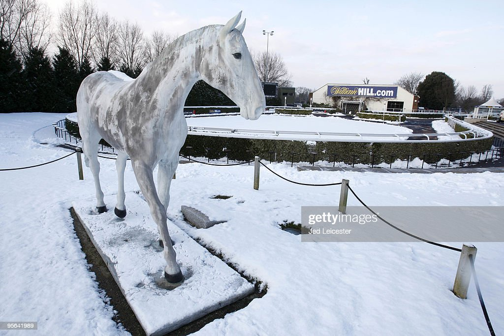 A statue of Desert Orchid stands near the parade ring at the Kempton Park race course as winter race meetings are cancelled due to the snowy conditions on January 8, 2010 in Sunbury, England. Extremely cold conditions are continuing to grip the UK with many overnight temperatures falling to -10 degrees Celsius and the Scotish village of Sutherland recording -22C.