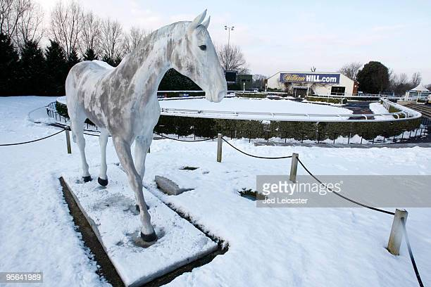 A statue of Desert Orchid stands near the parade ring at the Kempton Park race course as winter race meetings are cancelled due to the snowy...
