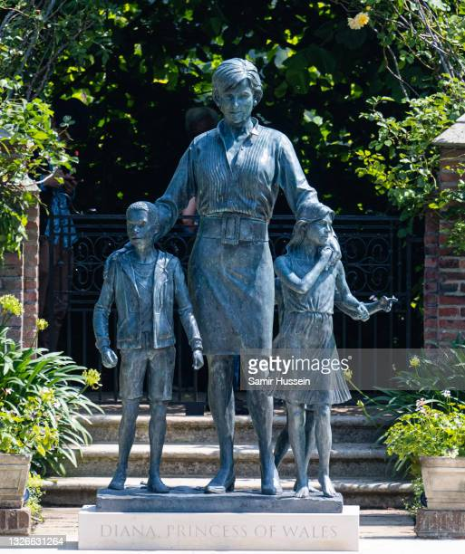 Statue of Diana, Princess of Wales in the sunken garden at Kensington Palace on July 02, 2021 in London, England. At Kensington Palace on July 02,...
