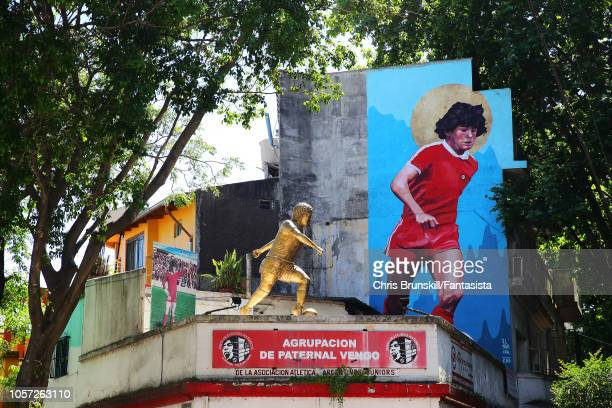 A statue of Diego Armando Maradona is seen outside the stadium ahead of the match between Argentinos Juniors and Independiente as part of Superliga...