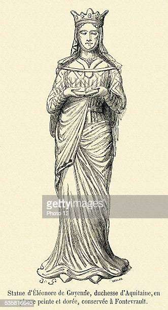 Statue of Eleanor of Aquitaine the duchess of Aquitaine guilded and of painted stone housed in Fontevrault 19th Century engraving