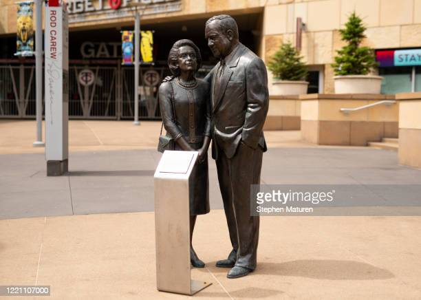 Statue of Eloise and Carl Pohlad stands outside Target Field on June 19, 2020 in Minneapolis,Minneapolis. The statue was moved to replace a statue of...