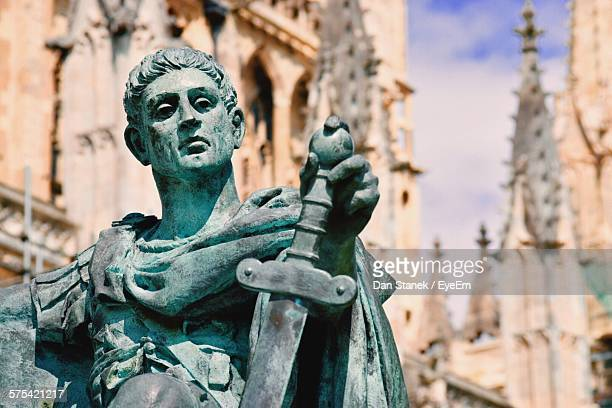 statue of emperor constantine outside cathedral - york minster stock photos and pictures
