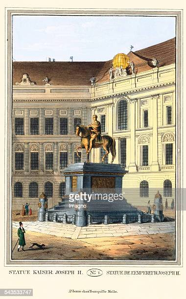 Statue of Emperor Joseph II 1825 Coloured etching Journal No 1 from >Wiens vorzüglichste Gebäude und Monumente Les principaux batiments et monuments...