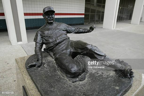 Statue of Enos Slaughter of the St Louis Cardinals is outside of Busch Stadium on July 18 2004 in St Louis Missouri