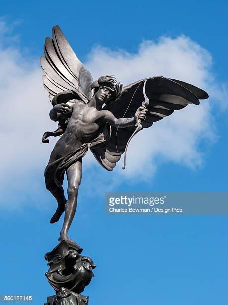 statue of eros in piccadilly circus - piccadilly bildbanksfoton och bilder