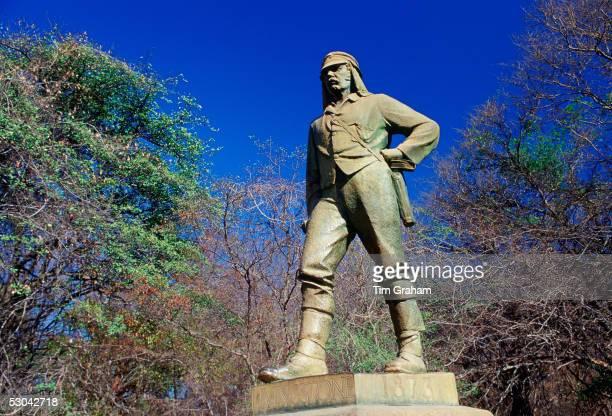 Statue of explorer David Livingstone at Victoria Falls on the Zambezi River Zimbabwe Africa