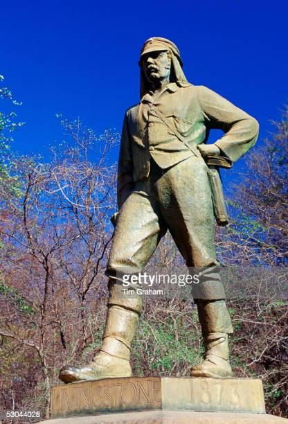Statue of explorer David Livingstone on Zambezi River at Victoria Falls in Zimbabwe Africa