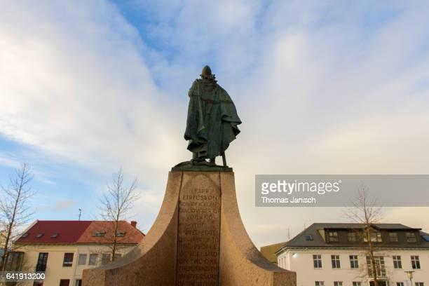 Statue of explorer Leif Eriksson during sunset, Reykjavik