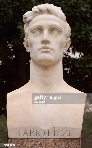Statue of Fabio Filzi in the grounds of the Villa Borghese Borghese Park Rome