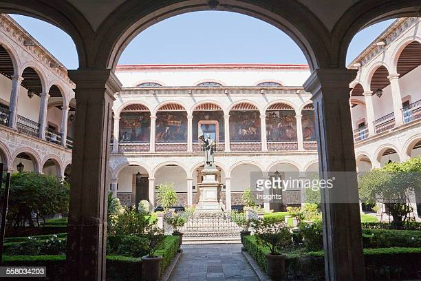 Statue Of Father Miguel Hidalgo In The Courtyard Of The Colegio De San Nicol