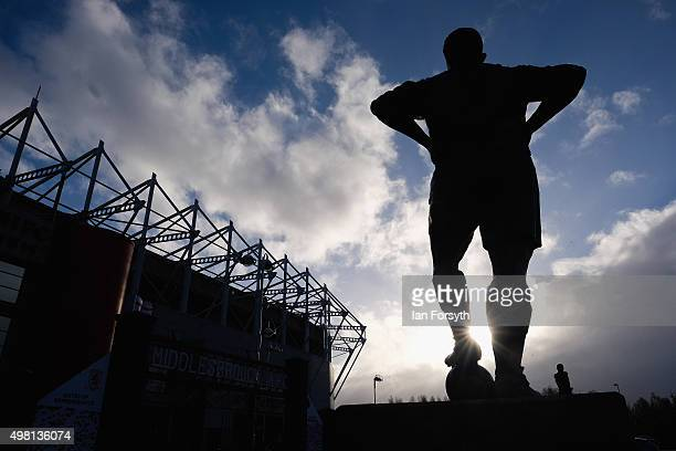 Statue of former Captain of Middlesbrough and England George Hardwick stands outside the Riverside Stadium as steelworkers from SSI UK attend a job...