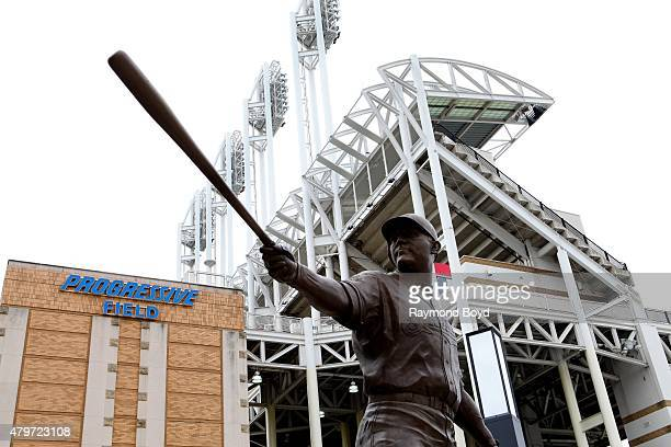 Statue of former Cleveland Indians player Jim Thome sits in the plaza at Progressive Field, home of the Cleveland Indians baseball team on June 19,...
