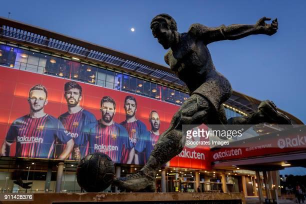 A statue of former FC Barcelona player Ladislau Kubala stands beside the stadium of FC Barcelona during the La Liga Santander match between FC...