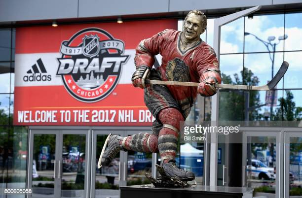 A statue of former hockey player Bobby Hull is seen during the NHL Draft Centennial Fan Arena outside the United Center before the 2017 NHL Draft on...