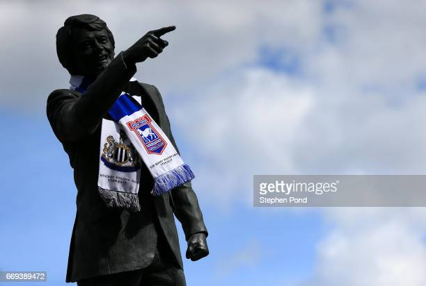 A statue of former Ipswich Town and Newcastle United Manager Sir Bobby Robson is seen ahead of the Sky Bet Championship match between Ipswich Town...