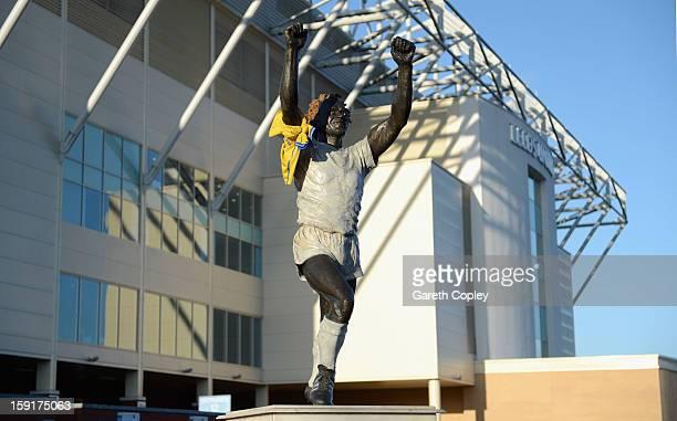 Statue of former Leeds United captain Billy Bremner outside Elland Road Stadium on January 9 2013 in Leeds United Kingdom