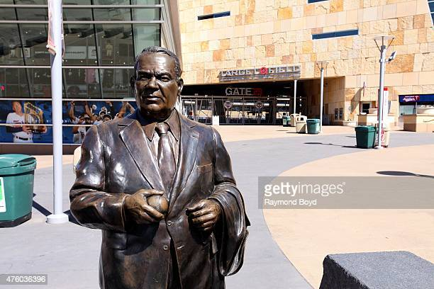 Statue of former Minnesota Twins owner Calvin Griffith stands outside Target Field, home of the Minnesota Twins baseball team on May 22, 2015 in...