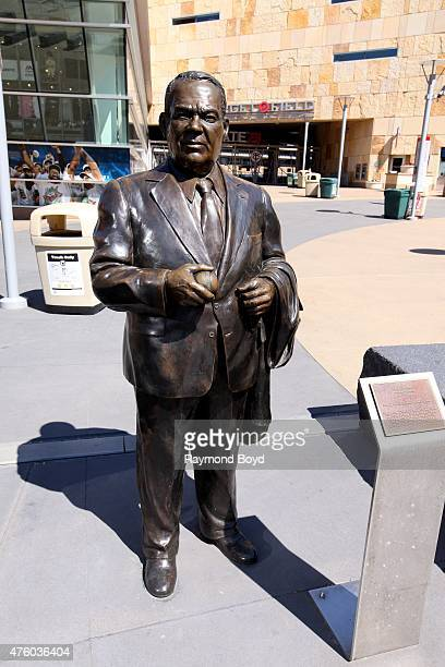 A statue of former Minnesota Twins owner Calvin Griffith stands outside Target Field home of the Minnesota Twins baseball team on May 22 2015 in...