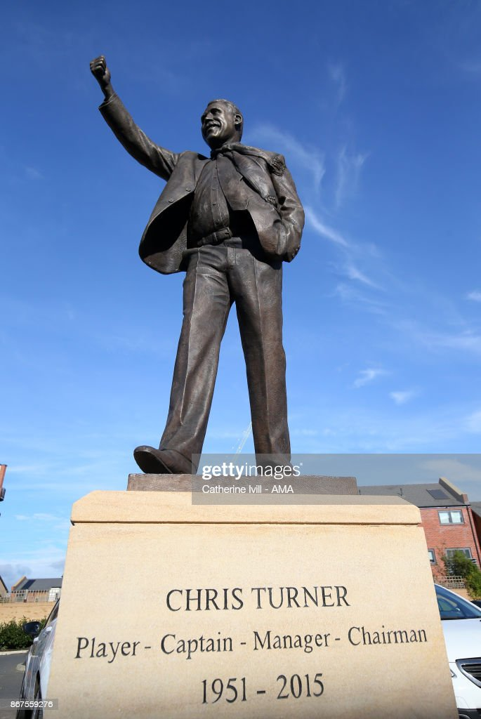 A statue of former Peterborough United manager Chris Turner before the Sky Bet League One match between Peterborough United and Shrewsbury Town at ABAX Stadium on October 28, 2017 in Peterborough, England.
