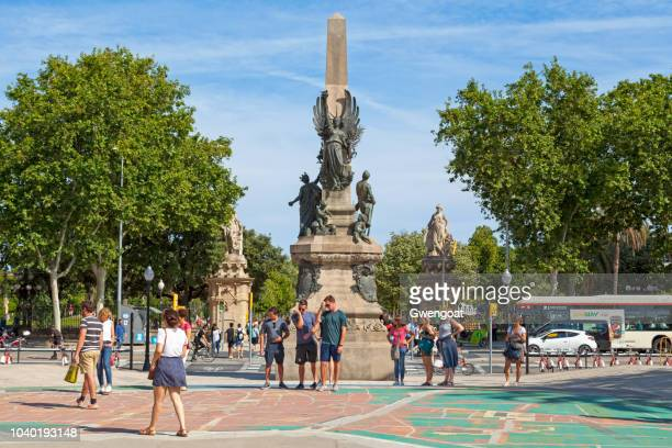 statue of francesc de paula rius i taulet in barcelona - gwengoat stock pictures, royalty-free photos & images
