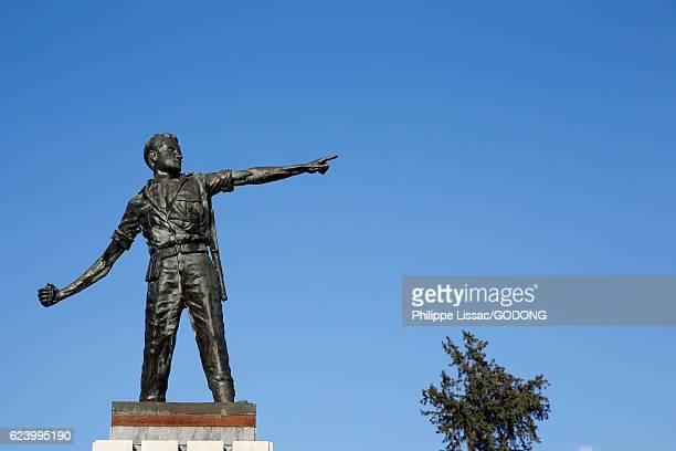 Statue of freddom fighter Markos Kyriakou Arakos, who was killed in january 1957
