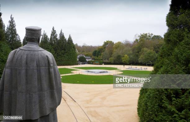 Statue of French Allied Supreme Commander, Marshal Ferdinand Foch, looks towards the Glade of the Armistice where the so-called Compiegne Wagon , in...