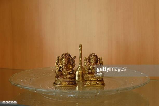 Statue of Ganapati and goddess Lakshmi at Ashu Suyashs Office space on January 23 2013 in New Delhi India