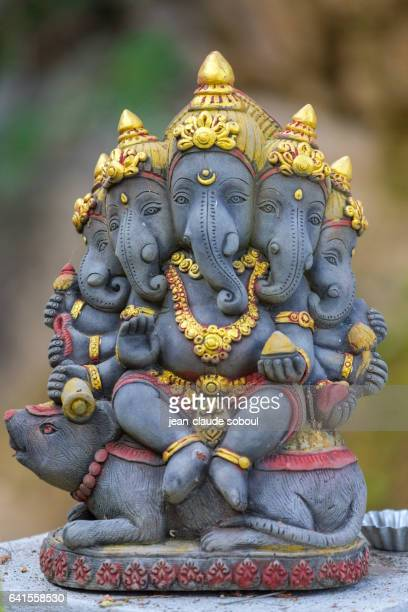 Statue of Ganesh with five heads in a temple of the province of chiang rai (thailand)